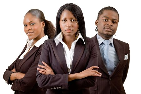 This is an image of a business team consisting of two businesswomen and one businessman.