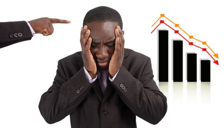 arrears: This is an image of a man deeply depressed due to a drop in the graph. This image can be used to represent Stock losses, Wrong Investment etc..