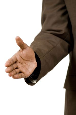 unify: This is an image of a businessman offering a handshake. This image can be used to represent Winning themes