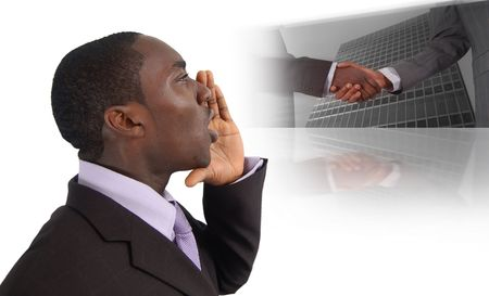 This is an image of business man with his hands near his lips making The Call For Business. This image can be used for announcement or business recruitment themes.