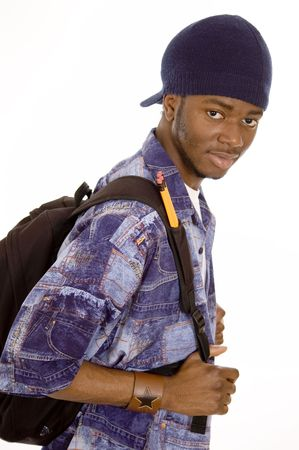 This is an image of student with his bag. Stock Photo