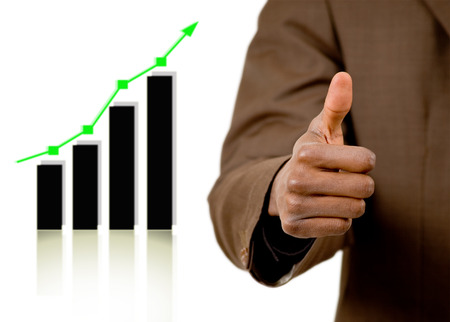 This is an image of a businessmans hand giving thumbs up, due to the rise on the graph.