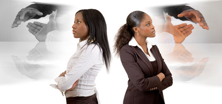 This is an image of two businesswomen with different (business) vision. This image can be used to represent Different Business Vision themes.