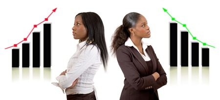 This is an image of two businesswomen with different (business) success. This image can be used to represent Different Success themes.
