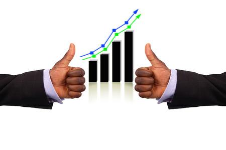 """stock predictions: Questa � l'immagine di due mani che rappresentano le imprese """"doppio successo profitti"""". Questo � indicata dal gesto ok e l'aumento del grafico."""