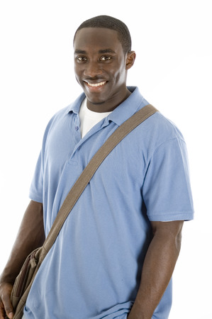 This is an image of student with his bag. This image can be used to represent student themes.