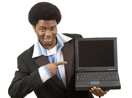 embed: This is an image of a businessman joyfully presenting a laptop. Designers can embed an image into the blank screen. This image can represents advertising themes.