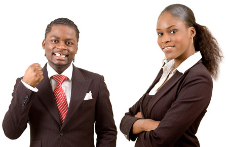This is an image of a happy businessman and a happy businesswoman. This image can be used to represnt Happy Business Team themes Stock Photo