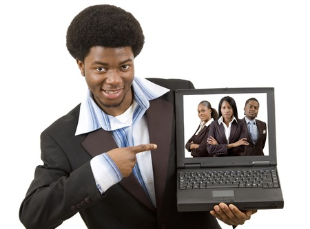 ceos: This is an image of a businessman joyfully presenting a laptop with his business team on the screen. This image can be used to represent Business Team themes