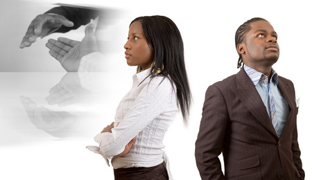 different goals: This is an image of business couple with different (business) vision. This image can be used to represent Different Business Vision themes.