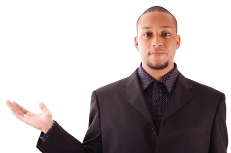 advertize: This is an image of a businessman with his hand out.