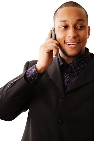 rescheduling: This is an image of businessman using his cellphone happily. Stock Photo