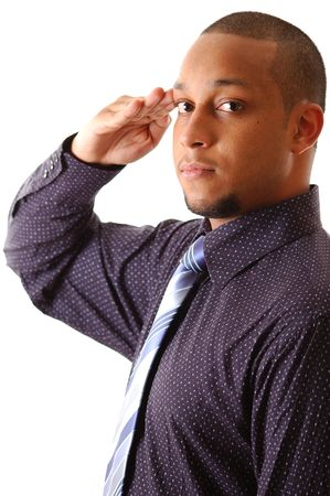 sophistication: This is an image of a businessman giving a salute. Stock Photo
