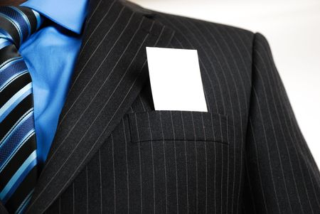 embed: This is an image of a business man with a card inside the suit pocket. Designers can embed an image or writing on the card.