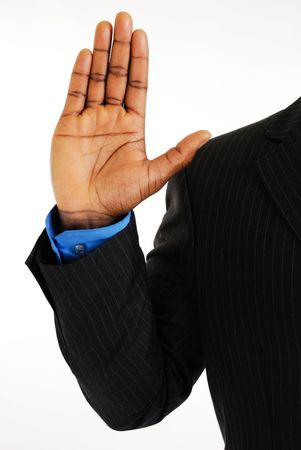 allegiance: This is an image of business man with his hand up.