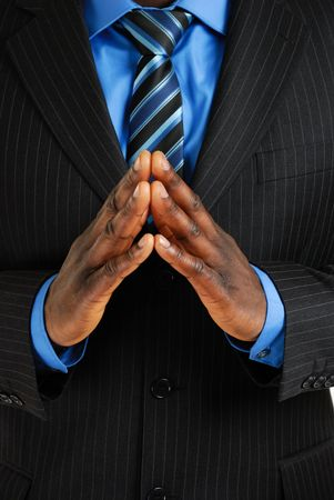 certain: This is an image of business man with his hands put together to show confidence and certainity Stock Photo