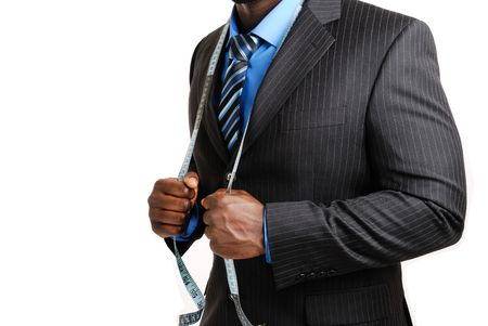 'tape measure': This is an image of business man wearing a tape measure across his suit.