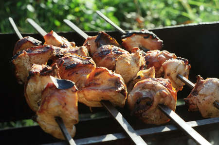 broiled: outdoor picnic; some pieces of meat broiled on a brazier Stock Photo
