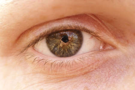 a close-up photo of a human eye with a reflection of a photograph in the pupil