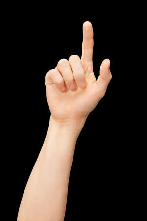 finger point: An isolated arm, pointing on a screen