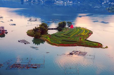 Island in the Hongshui River, Guangxi Stock Photo