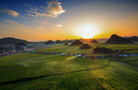 yunnan: Sunset scenery at Luoping, Yunnan Stock Photo