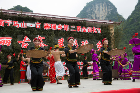 Traditional performance on the stage at Guangxi, Mashan