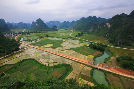 Natural scenery at Mashan, Guangxi Stock Photo