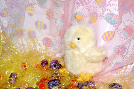 Toy chick with candies Stock Photo