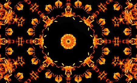 Brilliant & bright flames on solid black make a wonderful kaleidoscope pattern in this abstract background.