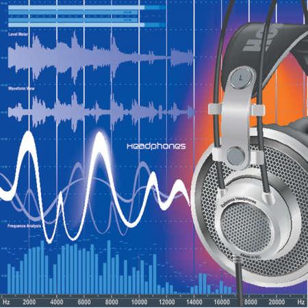 Headphones & soundwaves Stock Vector - 412428