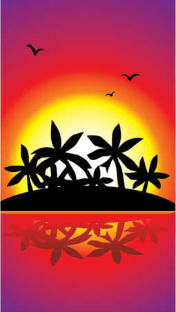 romantic getaway: Vector palms Illustration