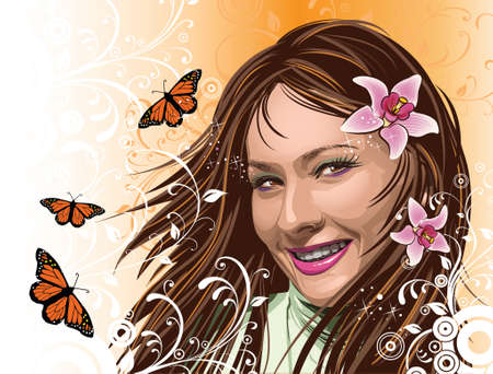 Beautiful girl with orchids and butterflies Vector