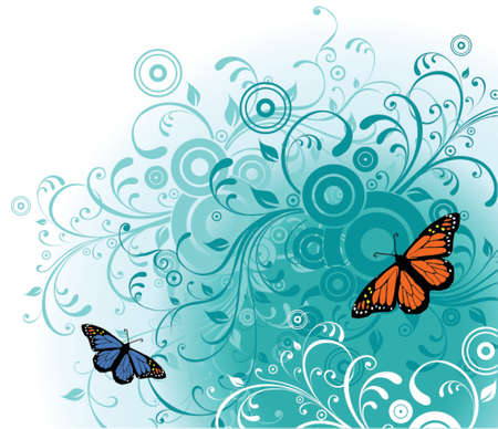 Vector Abstract Flowers and Butterfly