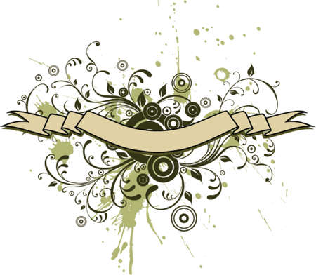 heading: Vector Grunge Floral Background and Ribbon