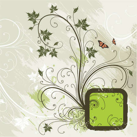 Decorative frame on a grunge floral background Vector