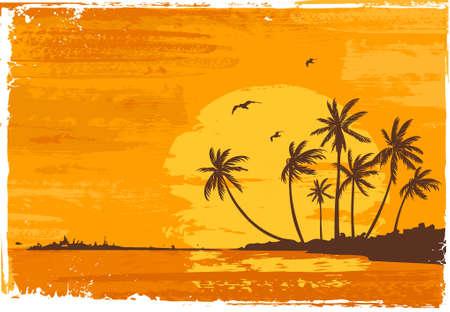 Sunset. Tropical beach. Stock Vector - 2127095