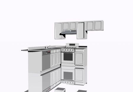 3D-afbeelding van de keuken op een witte achtergrond