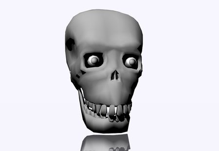 3D illustration of a grey skull on a white background illustration