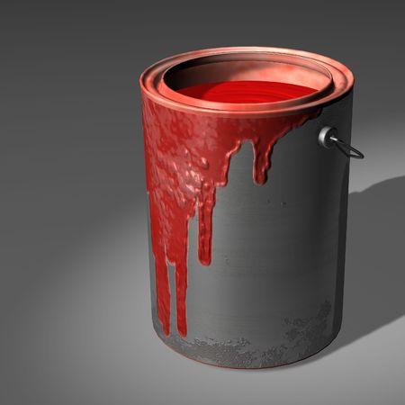 redecorating: Red Paint Pot Stock Photo