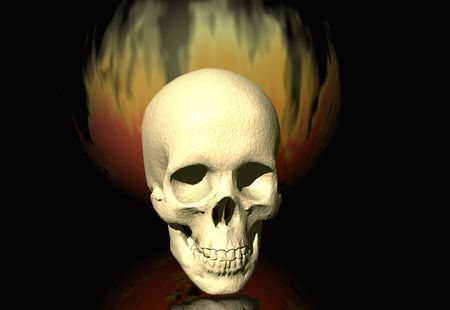 Burning skull photo