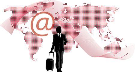 Business man op de wereld Stockfoto