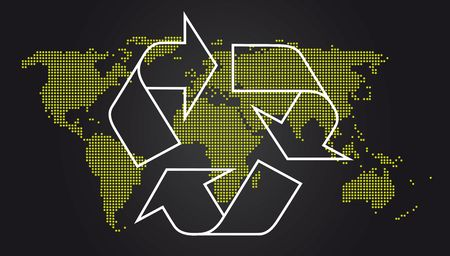 Recycle Symbol World Map Stock Photo