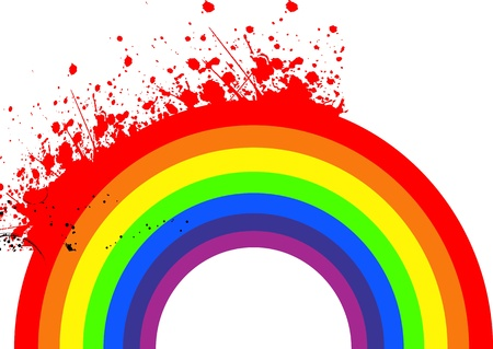 Painted Rainbow on a white background