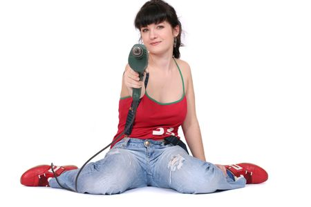 funny woman sitting on the floor. white background photo