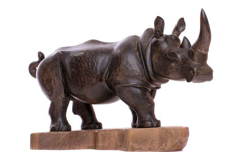 hoofed mammal: wooden rhinocerus on white background