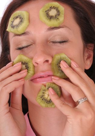 young woman with a kiwi mask photo