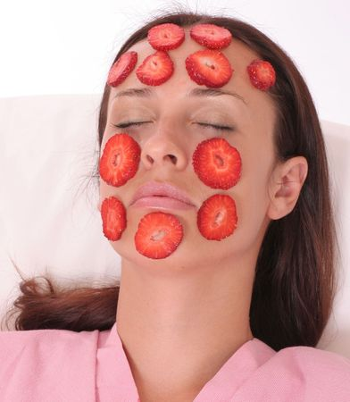 young woman with a Strawberry mask photo