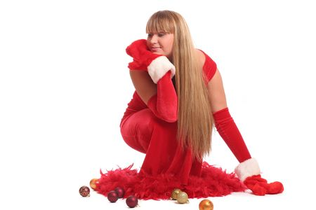 a beautiful woman in red dress with tree toys over white background Stock Photo - 2197293