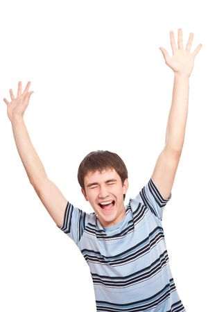 Screaming guy over white background photo